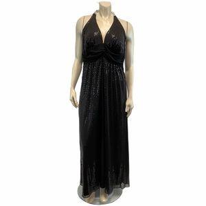 Torrid 16 Black Sequins Halter Maxi Dress